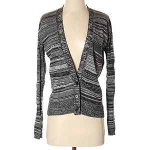 HEATHER Plunge Long Sleeve Button Cardigan XS